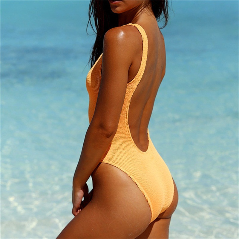 European and American solid color one-piece swimsuit NHHL145501