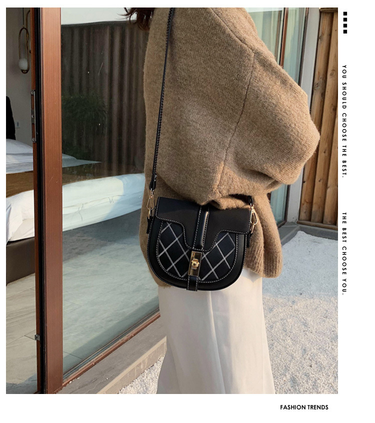 Autumn and winter foreign gas rhombic embroidery line one shoulder versatile slung saddle bag NHTC170517