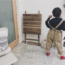19春nanokids新款韩版中小童男女宝宝大口袋背带裤一件代发