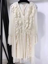 欧美定制大牌气质淑女范V领皱褶荷叶边喇叭袖纯色纯美雪纺连衣裙