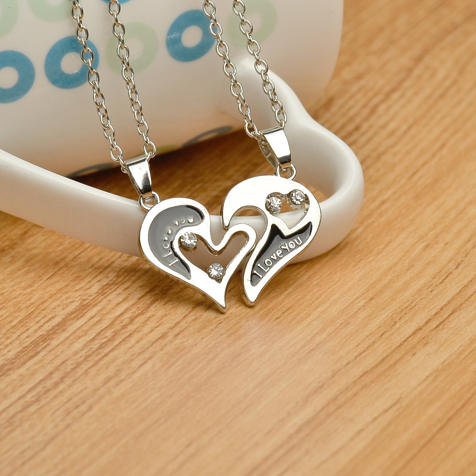 New peach heart diamond necklace clavicle chain fashion I loveyou moon couple love stitching necklace NHMO208166