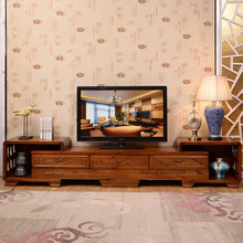 实木伸缩电视柜组合现代中式香樟木视听柜仿古雕花客厅地柜影视柜