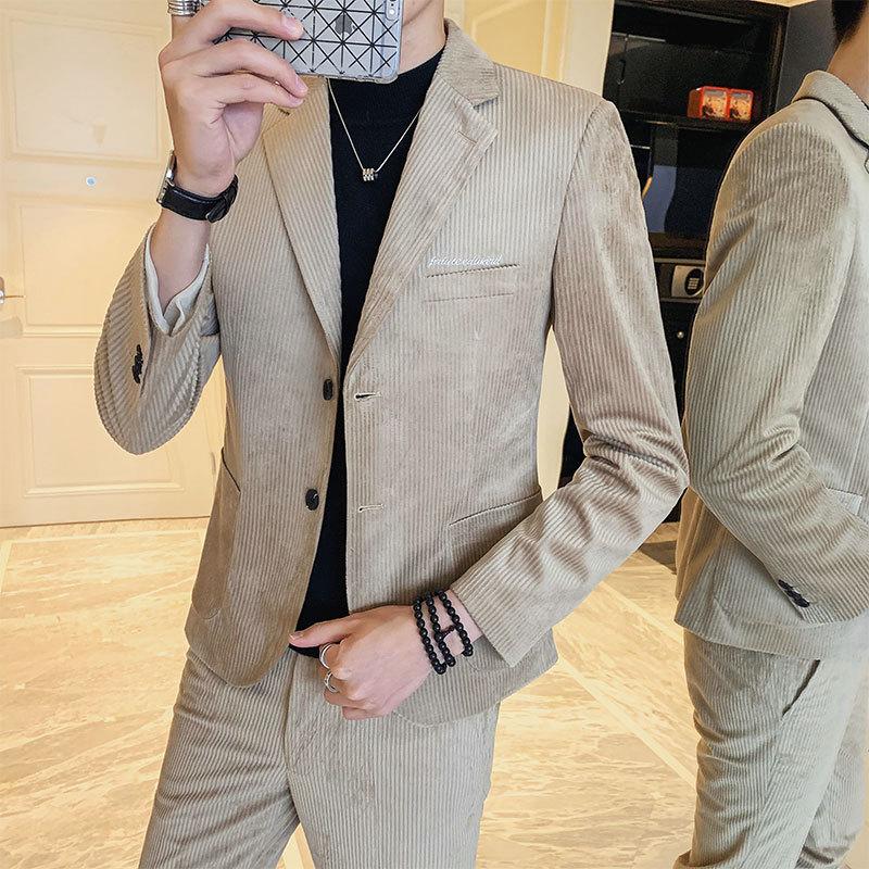 秋冬新款韩版修身型男灯芯绒西装休闲潮流时尚西服套装二件套