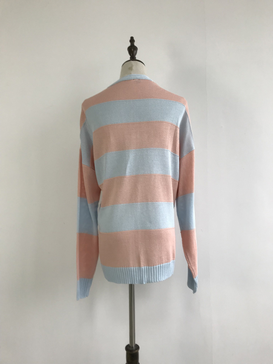 autumn and winter hot selling single-breasted V-neck long-sleeved striped knitted sweater wholesale  NSDF107