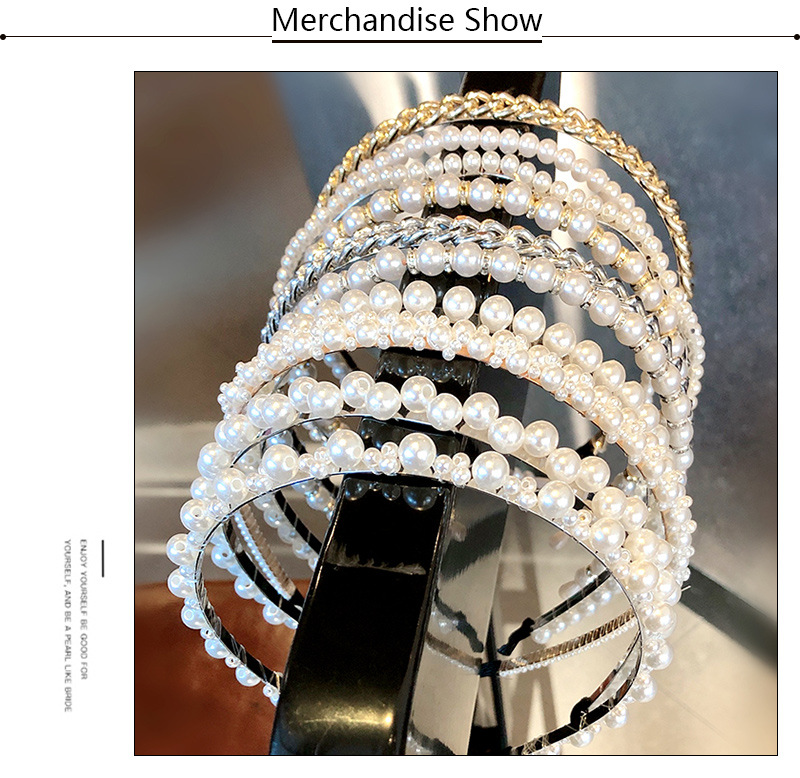 Korean pearl hair band handmade knotted fish line beaded cheap headband wholesale NHNA207448