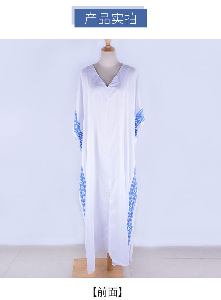 Imitation rayon embroidered robe one-piece dress loose beach blouse wholesale nihaojewelry NHXW243940