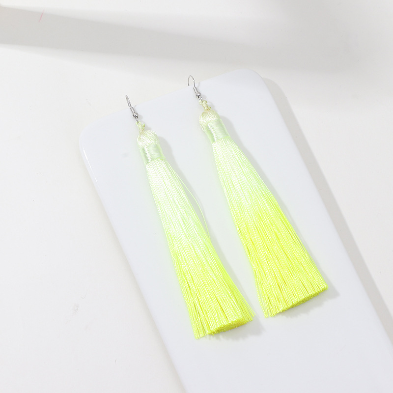 Womens Fresh candy color tassel plating alloy Earrings NHNZ122142
