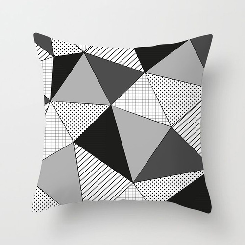 18'' Cushion Cover Pillow Case Nordic yellow and black abstract geometric pillow cover sofa art cushion cover