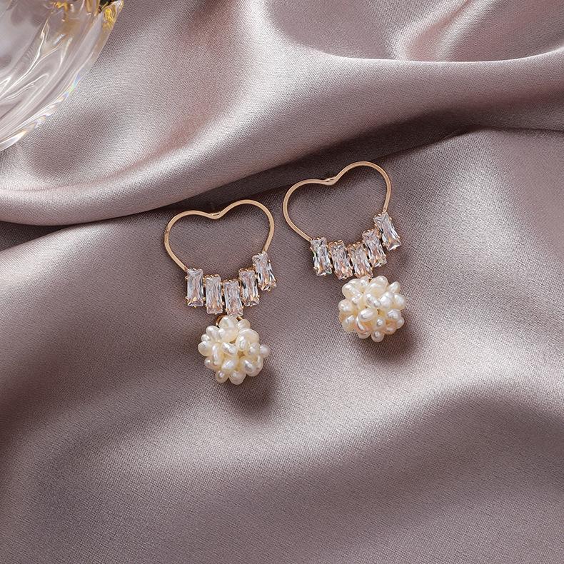 Hand-woven pearl ball earrings NHMS156896