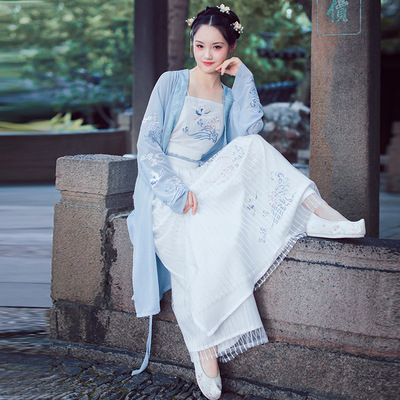 Chinese Hanfu female adult waist length, embroidered with three pieces of Guoqing elegant ancient