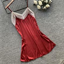 睡裙女夏丝绸性感吊带韩版睡衣女可爱波点短裙睡衣女冰丝吊裙