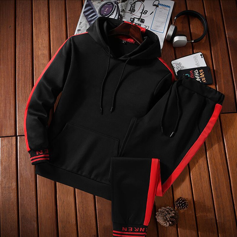 Autumn Hooded Sweater Men's Korean Trend Ins A Set Of Handsome Men's Casual Loose Sports Suits
