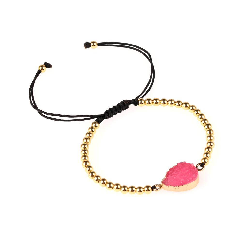 Unisex drop-shaped Color-protection solid bead drawing plastic resin Bracelet NHPY121464