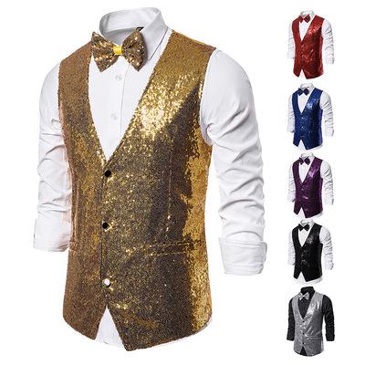 Men's singers jazz dance gold silver sequined waistcoats host best man stage costumes Sequined Vest photo studio master of ceremonies vest
