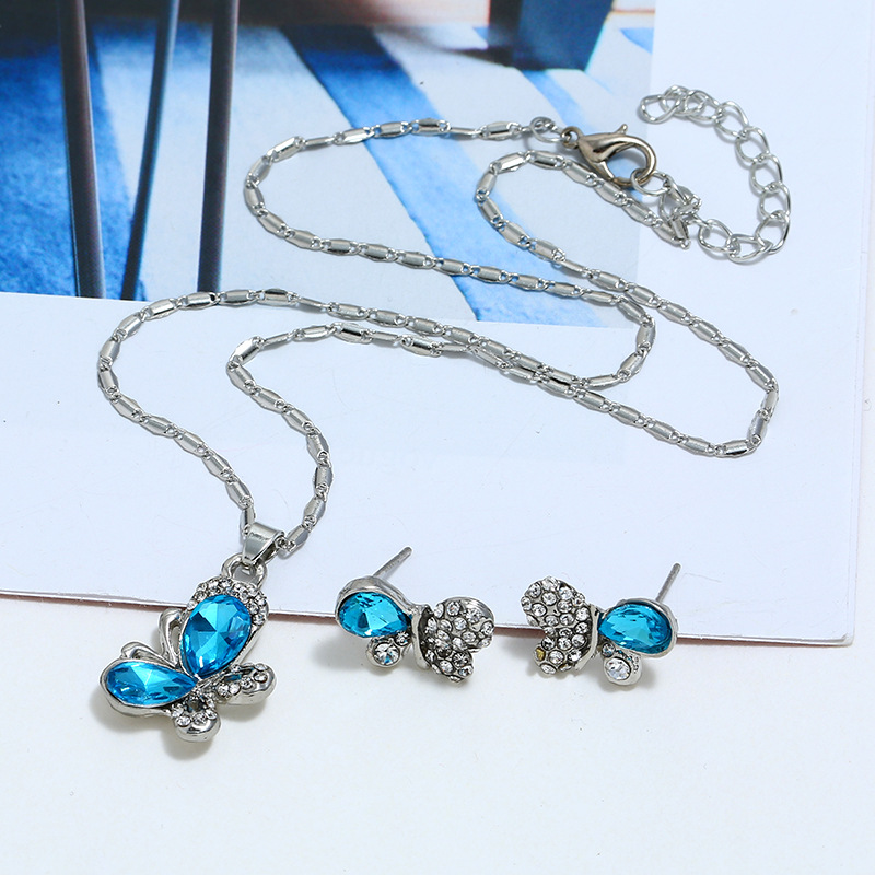 Womens Inlaid Imitated crystal Alloy butterfly Jewelry Sets NHBQ127864