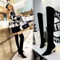 1718-13 Euro-American fashionable transparent crystal heel, high heel, pointed suede, sexy, slim, over-knee boots
