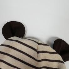 帽子保暖护耳女婴儿全棉春秋咖啡条纹可爱超萌小熊耳朵男宝宝全棉