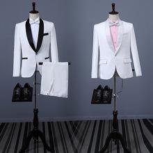 西服套装男士三件套韩版西装 修身白色职业伴郎新郎礼服