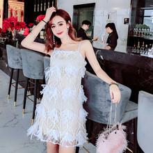 2019夏季新款女装镶钻性?#26032;?#32937;蕾丝吊带连衣裙打底短裙潮