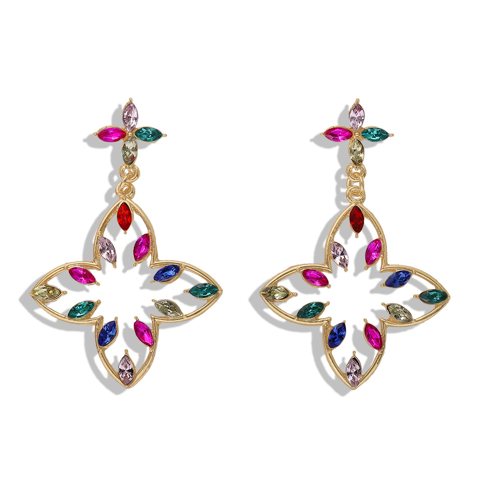 New rhinestone earrings temperament simple birthday gift jewelry wild metal earrings fashion NHJQ177478