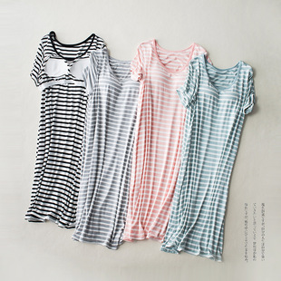 Modal short-sleeved long skirt pajamas with chest pad striped loose thin large size home dress female summer home
