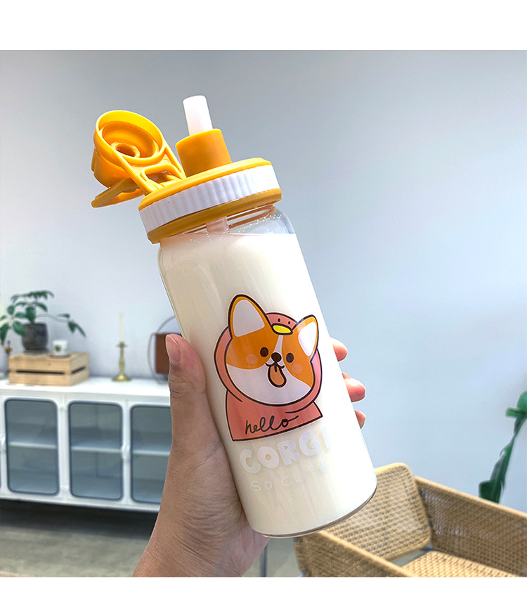 Korean fashion simple Corgi printed glass water cup portable takeaway handle cup student sports water cup NHtn203947