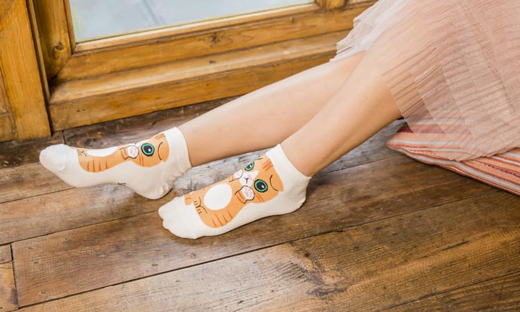 Women's cotton socks wholesale cute cartoon cat female boat socks fashion wild short socks NHER206461
