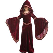 欧式中?#20848;?#36149;族服 万圣节酒红色吸血鬼表演服 女童连帽长袖连衣裙