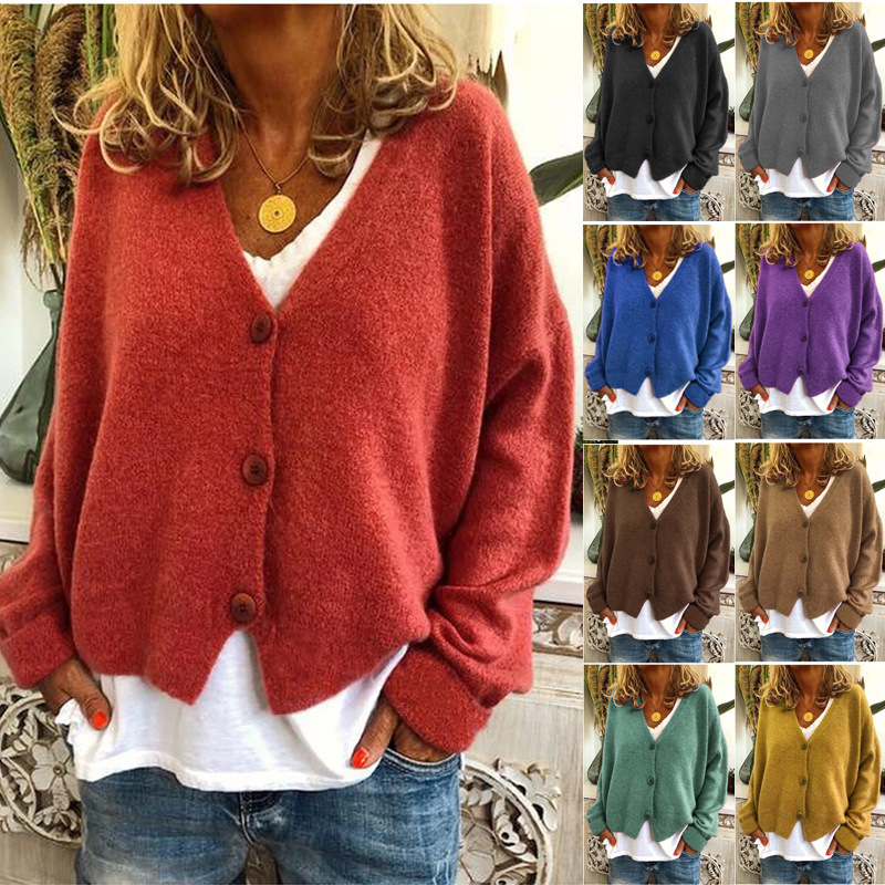 European and American Women's Fall/winter Casual Loose Sweater Knitted Cardigan