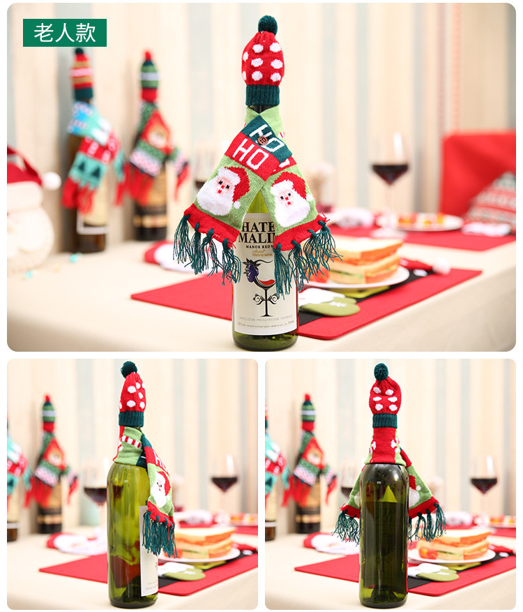 New Christmas bottle decoration Christmas scarf hat set NHMV155585