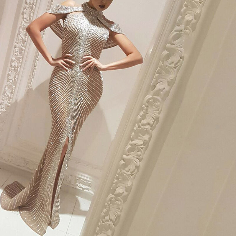 2020 new European and American foreign trade women's independent station hot stamping slit sexy slim dress tailing evening dress