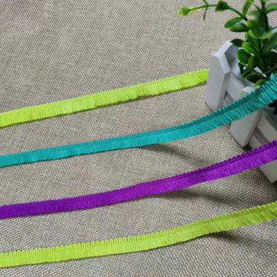 厂家现货供应涤线排须花边 毛须流苏花边可订制 荧光/绿/紫色可选