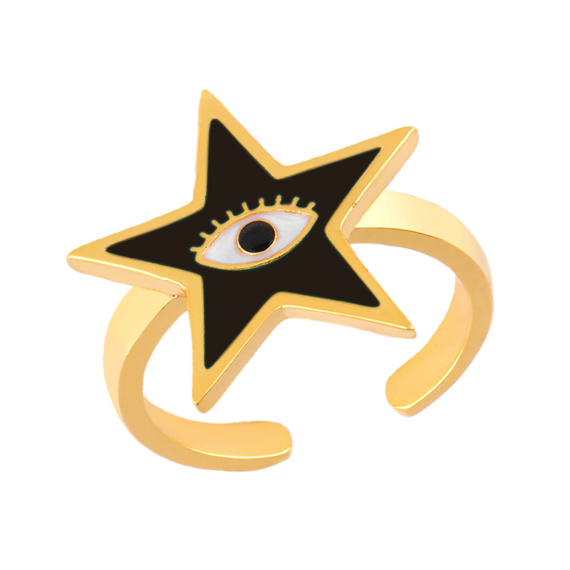 Fashion five-pointed star drop oil ring female original design opening ring NHAS173687