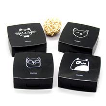 Vỏ kính áp tròng màu đen hoạt hình dễ thương hộp xách tay vô hình hộp vuông gương hộp bán buôn Vỏ kính