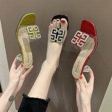 粗跟凉鞋中跟时装凉拖鞋女外穿2019新款韩版百搭女鞋露趾一字凉拖