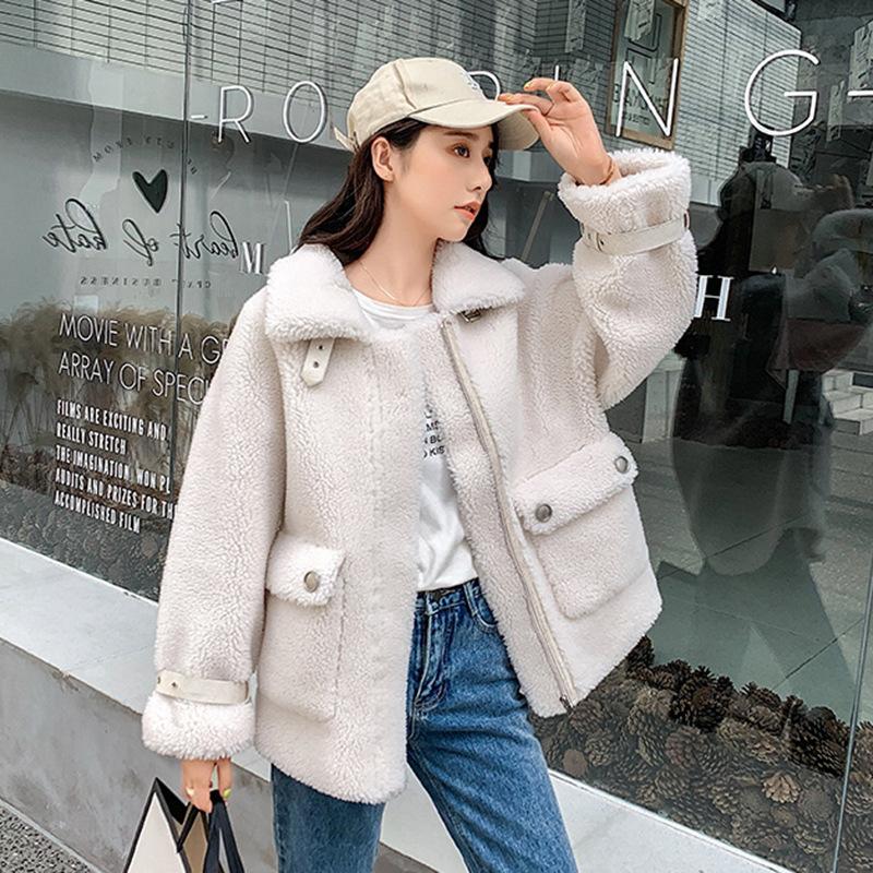 2019新款羊剪绒大衣女士颗粒绒中长款复合皮毛一体皮草外套女韩版