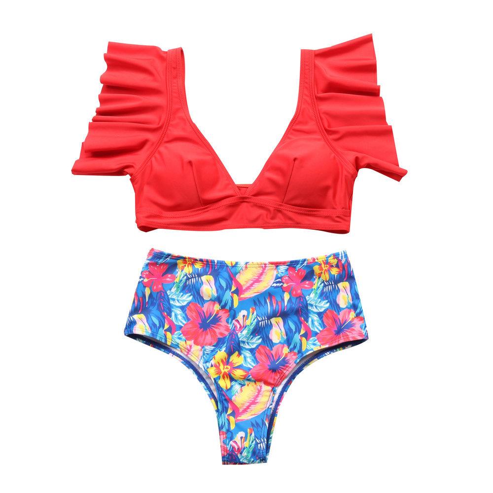 new hot style printed high waist deep V ruffled split bikini sexy swimsuit NSHL2521