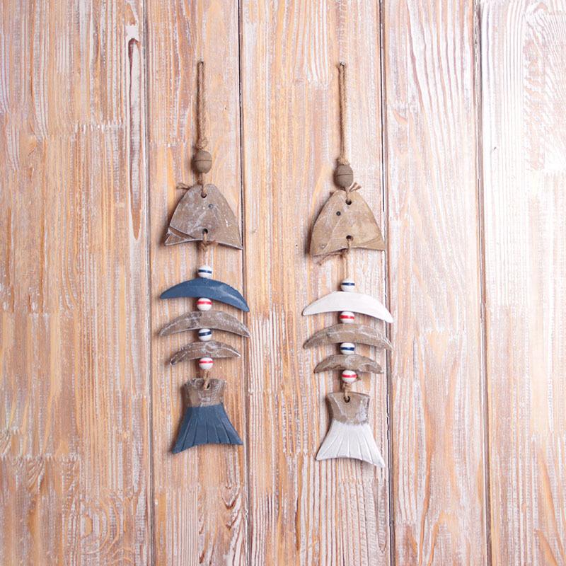 地中海风格木质手工鱼骨 创意家居树脂挂饰 时尚彩绘客厅卧室装饰