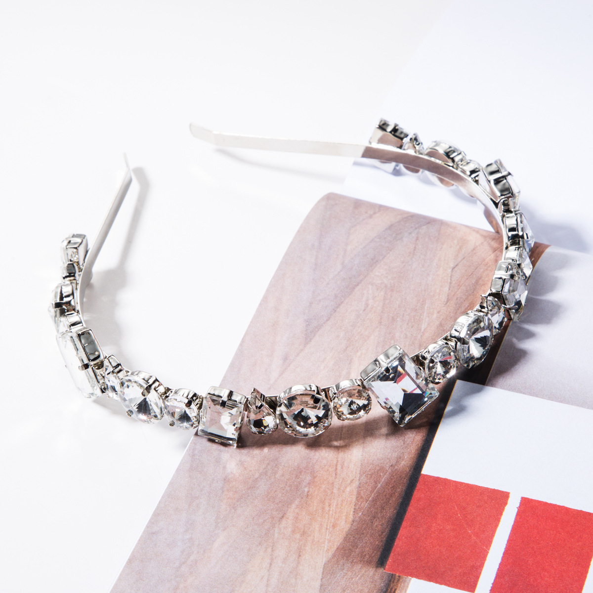 Alloy diamond-studded glass headband NHJE156646