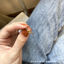 2020新 进口14k包金水洗不褪色超细精致迷你打结爱心戒指学生指环