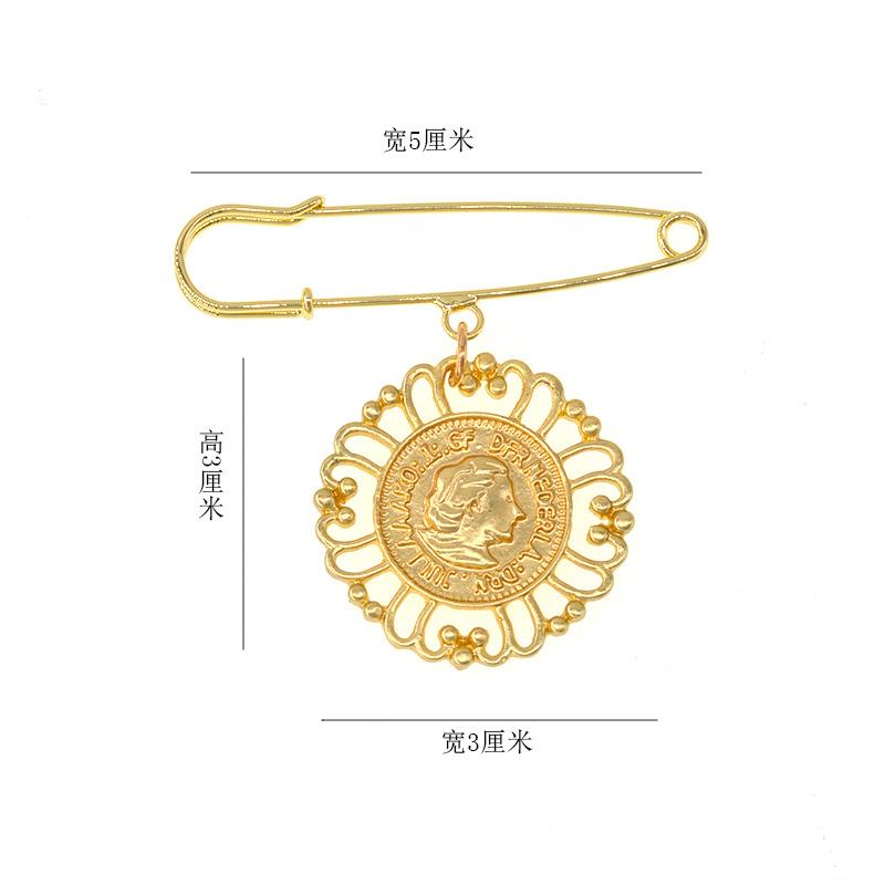 Coin beauty head tassel brooch NHNT171063