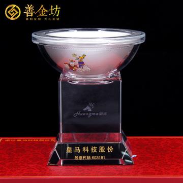 银碗定制加工立体摆件纯金碗制作企业周年庆典纪念品定制