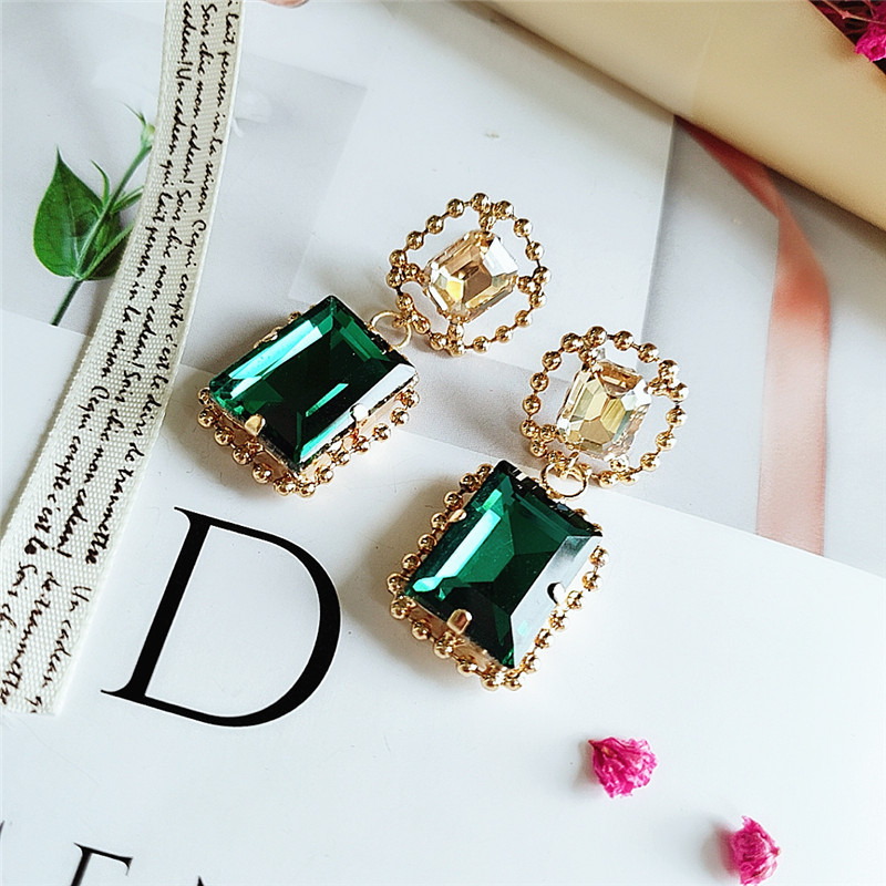 New fashion pop square big gem earrings NHVA186019