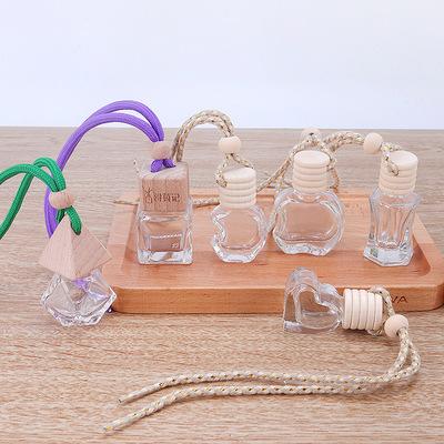 厂家批发创意车载玻璃香薰瓶挂饰吊坠车用精油香水瓶分装玻璃空瓶