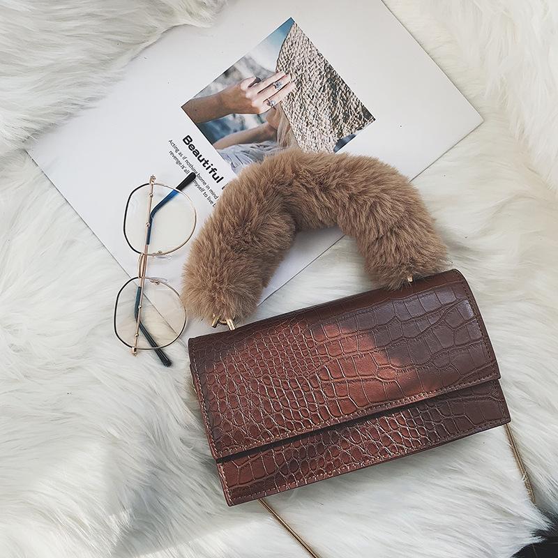 小包包女2019新款韓版時尚毛絨手提小方包復古石頭鏈條單肩斜挎包