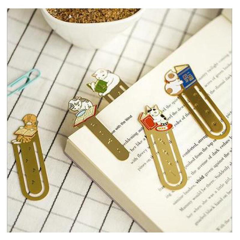 韩国文具 金属书签 镀金不锈钢镂空 猫咪家族书夹 创意可爱小猫