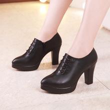 新款深口单鞋女春秋粗跟厚底防水台尖头大码黑色工作鞋女走秀单鞋