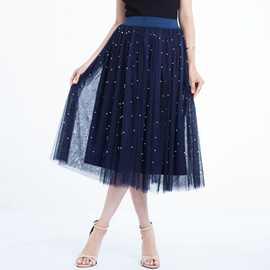 2019跨境新款欧美chic春装重工钉珠大摆长款蓬蓬裙珠子网纱半身裙
