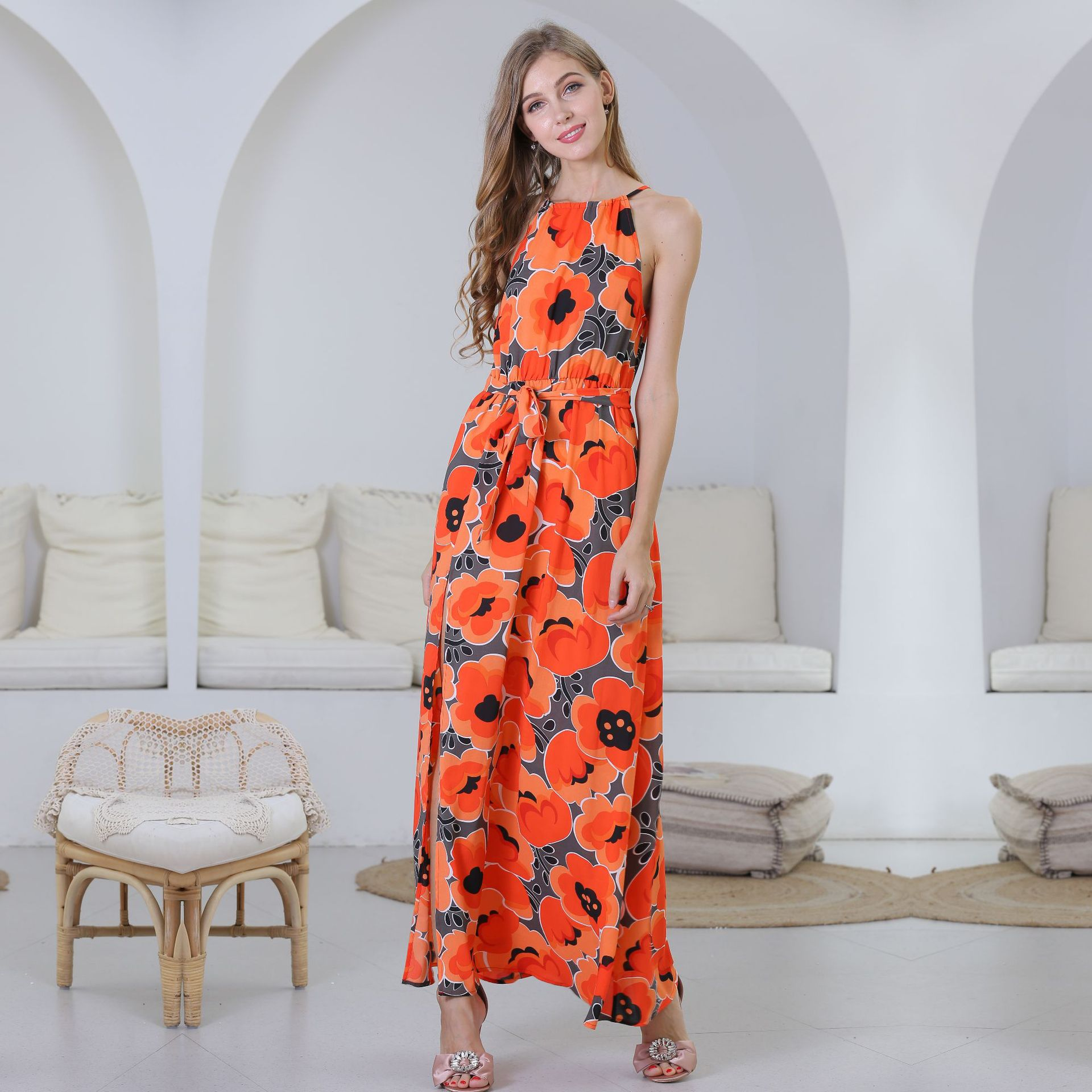 Dress Summer 2019 Net Red Europe and America Women's Print Chiffon Dress Sleeveless Sling Skirt Floral Dress