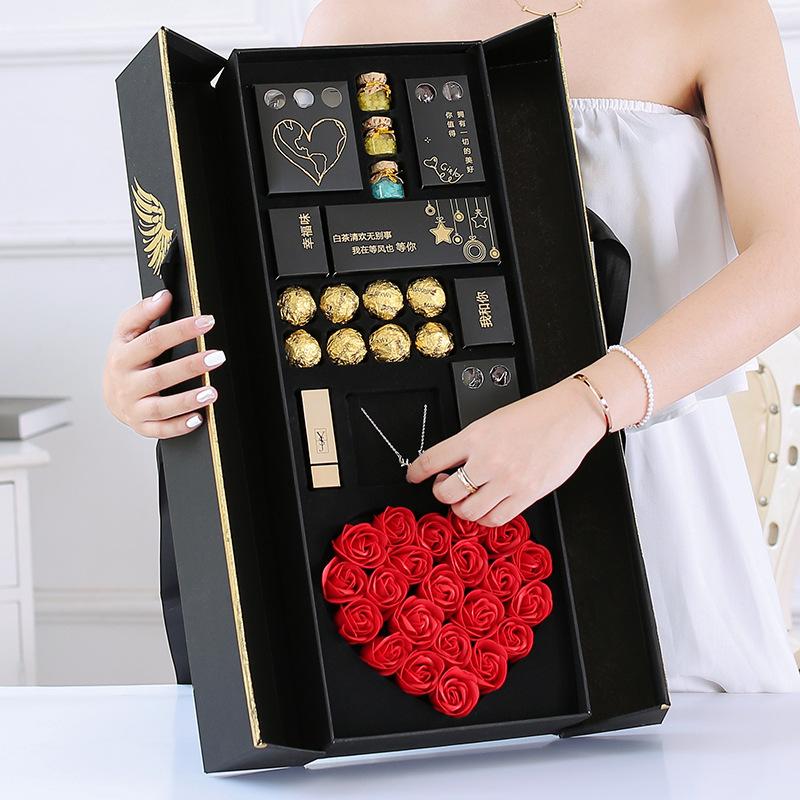 情人节创意巧克力香皂玫瑰花抖音创意生日礼物天使之翼礼盒套装